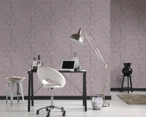 RW6685 Grey/Pink Floral Wallpaper