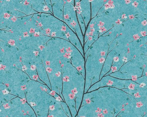RW6679 Aqua Floral Wallpaper