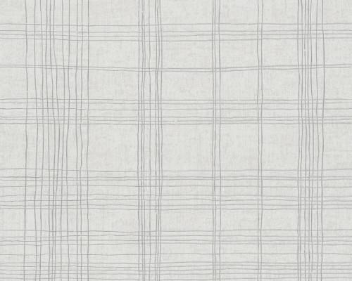 RW6661 Grey/Silver  Stripes & Waves Wallpaper