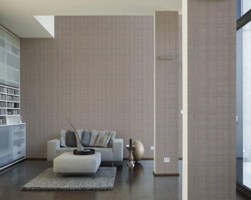 RW6657 Beige/Silver Stripes & Waves Wallpaper