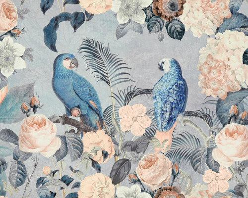 Parrot with floral background