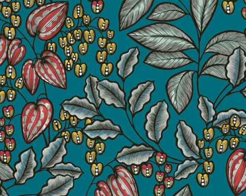 RW95377542A Green , Colourful, Floral  Wallpaper