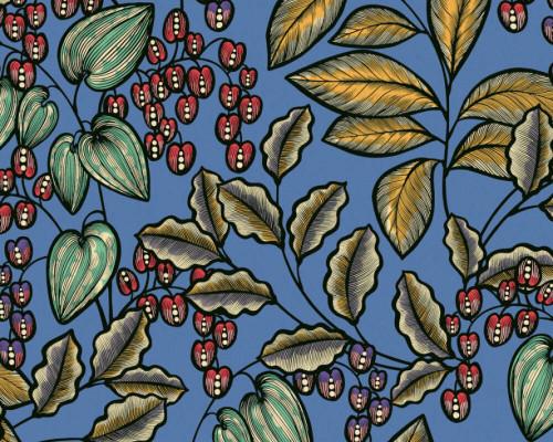 RW95377541A Blue, Colourful, Floral  Wallpaper