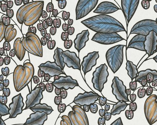 RW95377548A Cream/Blue, Colourful, Floral  Wallpaper