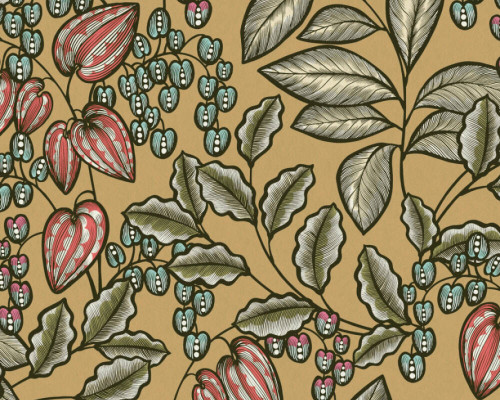 RW95377544A Brown, Yellow, Green, Colourful, Floral  Wallpaper