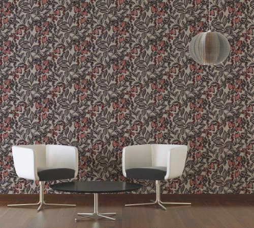RW95377543A Brown/Orange , Colourful, Floral  Wallpaper