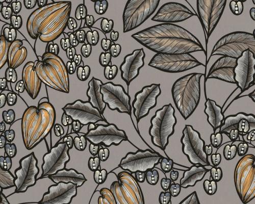 RW95377549A  Grey , Colourful, Floral  Wallpaper