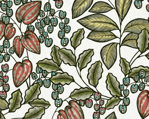 RW95377545A  Colourful ,Green/White, Floral  Wallpaper