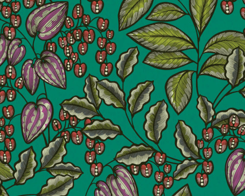 RW95377547A  Colourful ,Green/Red, Floral  Wallpaper