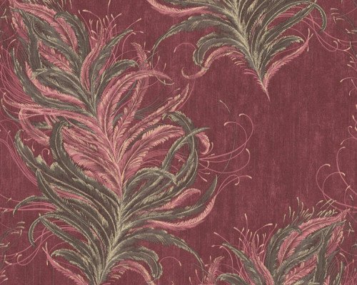 RW95380093A feather wallpaper red