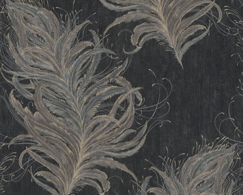 RW95380094A feather wallpaper black
