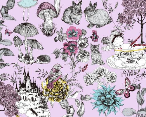 RW59381203A  Pink Floral/Animal Wallpaper