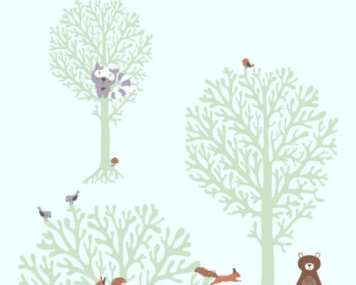 RW59381342A  Animal/Tree Wallpaper