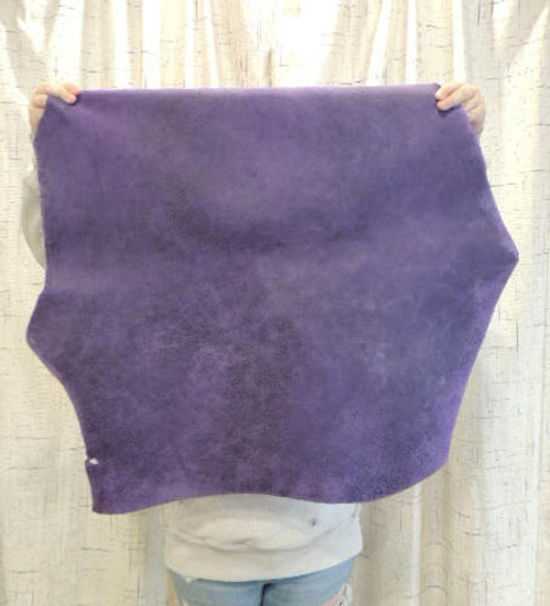 3-4 oz. WAXY PURPLE Leather Hide for Native American Crafts Buckskin Journal Covers Purses Handbags Clothing.