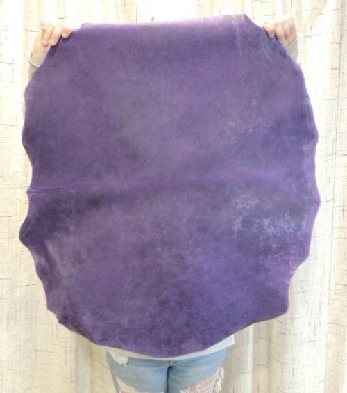 3-4 oz. WAXY PURPLE Leather Hide for Native American Crafts Buckskin Journal Covers Purses Handbags Clothing-