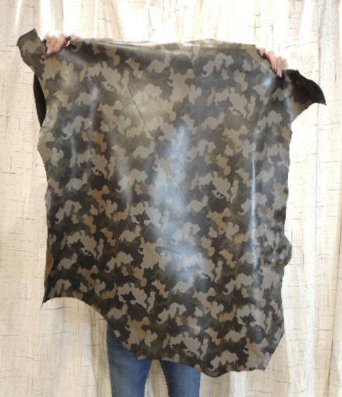 CAMO Full Grain Leather Hide for Purses Clothing Crafts Wallets Journal Covers Handbags