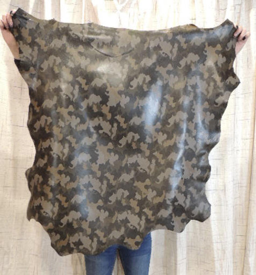CAMO Full Grain Leather Hide for Purses Clothing Crafts Wallets Journal Covers Handbags.