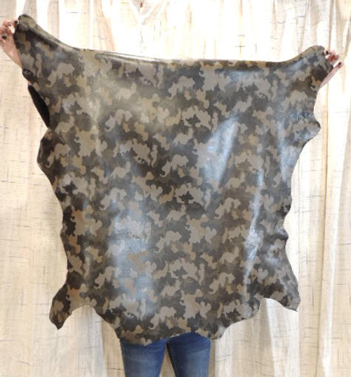 CAMO Full Grain Leather Hide for Purses Clothing Crafts Wallets Journal Covers Handbags..
