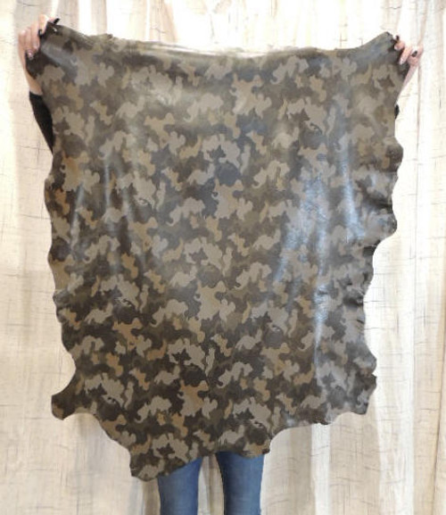 CAMO Full Grain Leather Hide for Purses Clothing Crafts Wallets Journal Covers Handbags...