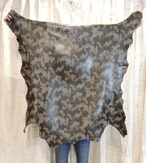 CAMO Full Grain Leather Hide for Purses Clothing Crafts Wallets Journal Covers Handbags......