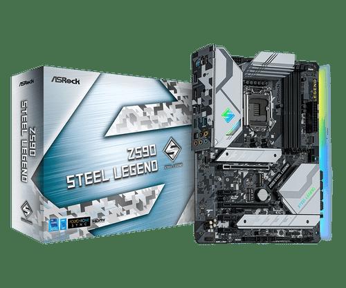 ASROCK Z590 STEEL LEGEND INTEL SOCKET LGA 1200 / 10th - 11th GEN / DDR4/ ATX MOTHERBOARD MFG PN: Z590 STEEL LEGEND