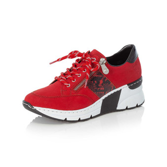 Rieker N6322-33 Laced Wedged Trainer Red Grey's of Templemore 70