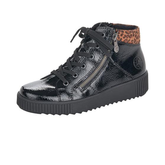 Rieker M6434-01 Laced Flat Boot Black