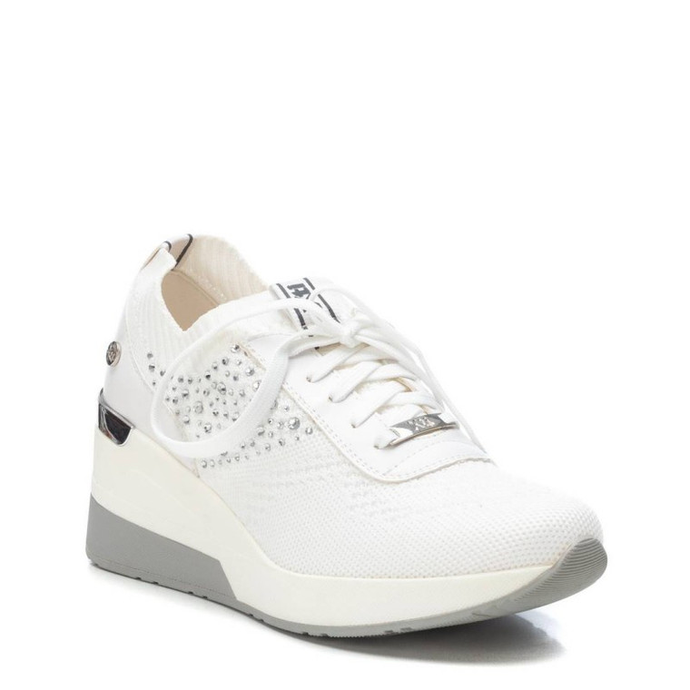 XTI 42593 White Textile Ladies Shoes With Wedge Heel