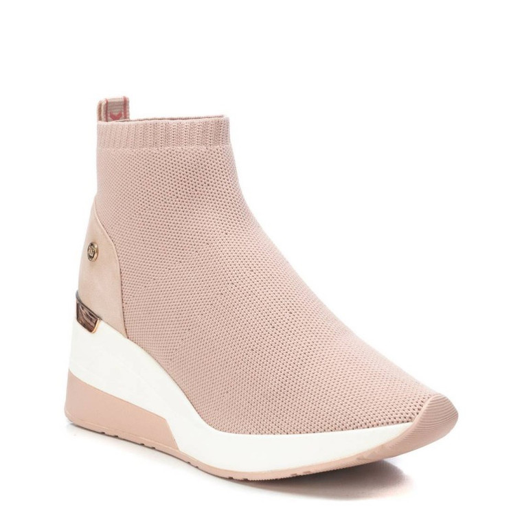 XTI 42571 Nude Textile Ladies Ankle Boots With Wedge Heel