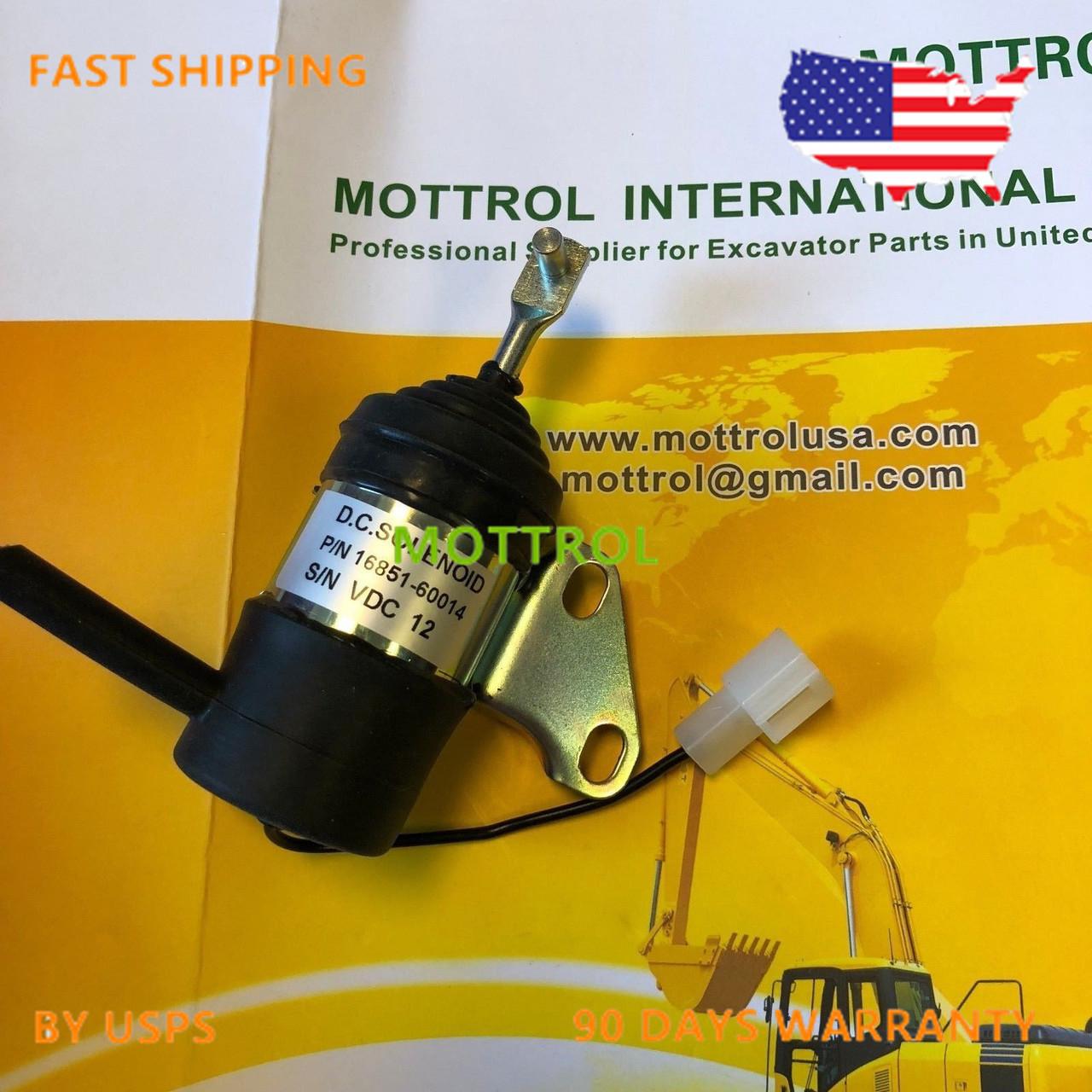 16851-60014 Fuel Stop solenoid for Kubota Mower ZD18 ZD21 ZD221 ZD323 D722 Engine 12V