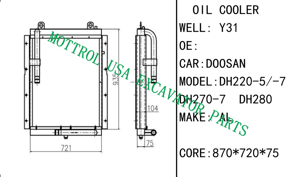New Hydraulic Oil Cooler For DAEWOO DH220-5 Excavator on