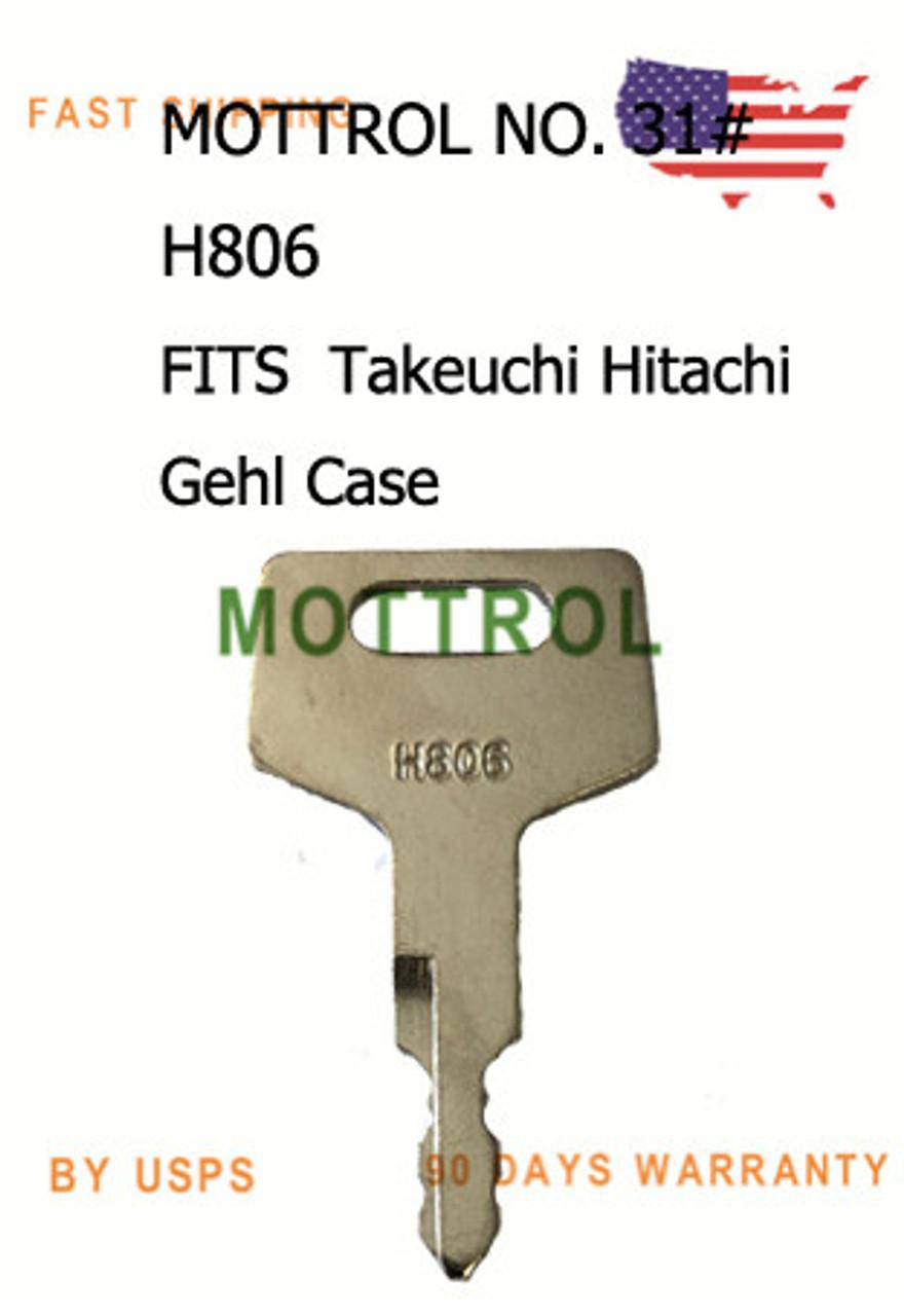 10 Ignition Keys H806 for Takeuchi 17001-00019 Gehl 180845 New Holland Case Hitachi