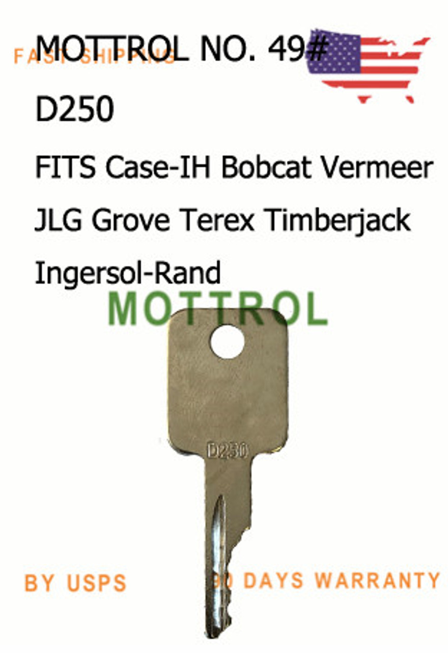 5 PCS D250 Key For Case IH Bobcat Vermeer JLG Grove Terex Timberjack  Ingersol-Rand