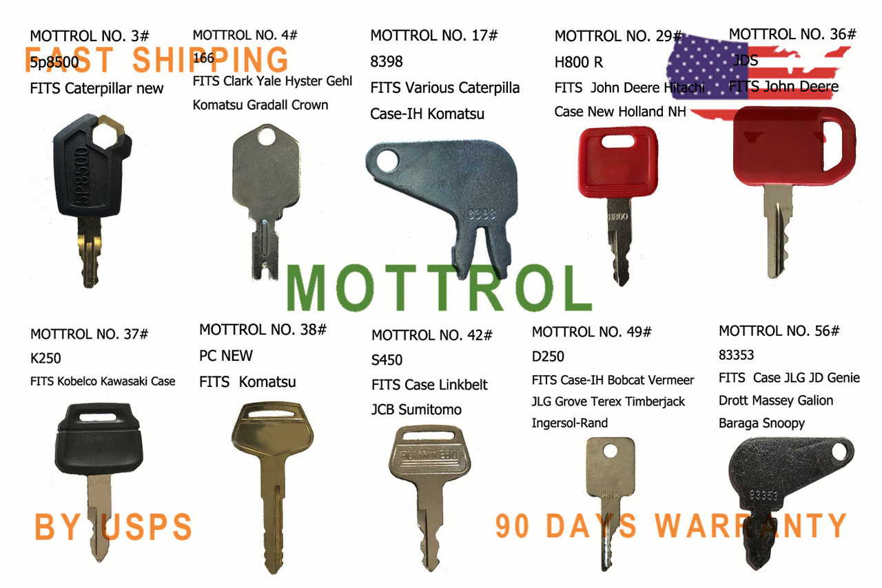 Construction Ignition Key Set JD Caterpillar Kobelco 21 Keys Heavy Equipment