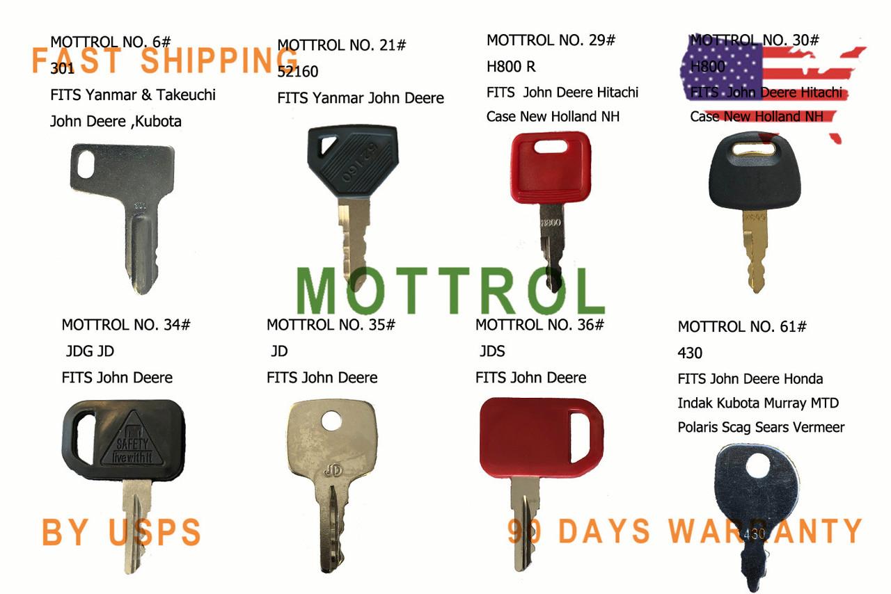 New Style 39 Heavy Construction Equipment Ignition Key Set New Keys Added!