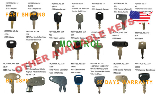 Solarhome 4 PCS Keys 14607 for JCB Bobcat Bomag Caterpillar Dynapac Ford Gehl Hamm Hang Moxy New Holland Rayco Sky Trak Terex