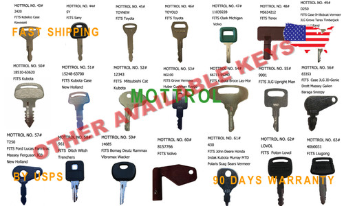 AR51481 C1098JD JD KEYS 5 PK FITS JOHN DEERE Multiquip and Indak Equipment