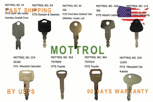 Mover Parts Forklift Key for Clark Yale Hyster Komatsu Gradall Gehl Crown /& More 2