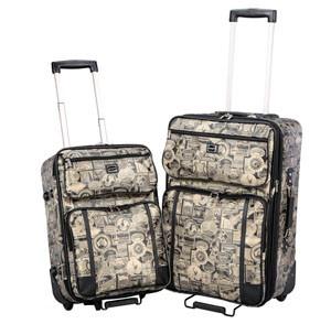 Sydney Love Black/Gold Travel Print 2Pc Luggage set
