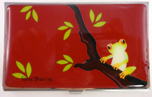 SHAGWEAR TREE FROG RED BUSINESS CARD HOLDER