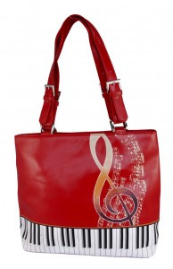ShagWear Tote Bag Keyboard Melody Red NEW