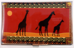 SHAGWEAR AFRICAN SAFARI RED BUSINESS CARD HOLDER