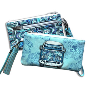 LISA POLLOCK BLUE KOMBI CLUTCH
