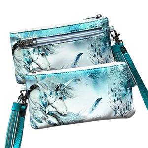 LISA POLLOCK MYSTIC UNICORN TEAL CLUTCH