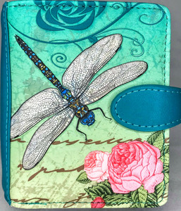 VINTAGE DRAGONFLY SMALL ZIPPER WALLET IN TEAL