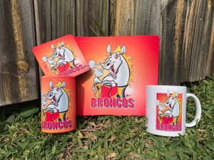 BRONCOS 4PCE SET, MUG, COASTER,STUBBIE HOLDER, MOUSE PAD