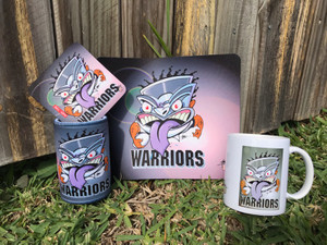 WARRIORS 4PCE SET, MUG, COASTER,STUBBIE HOLDER, MOUSE PAD