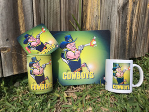 COWBOYS 4PCE SET, MUG, COASTER,STUBBIE HOLDER, MOUSE PAD