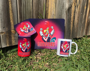 ROOSTERS 4PCE SET, MUG, COASTER,STUBBIE HOLDER, MOUSE PAD