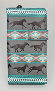 WESTERN HORSE GREY LADIES WALLET
